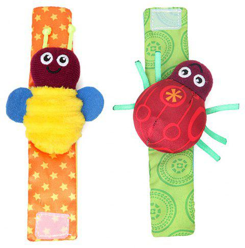 Baby Wrist Strap Cartoon Beetle Newborn Calming Toy  2PCS - multicolor A