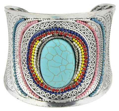 Carved Colorful Beads Blue Stone Statement Bangles - BLUE DIAMOND