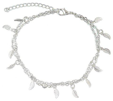 Bohemian Jewelry Double-layer Leaf Chain Anklets - SILVER