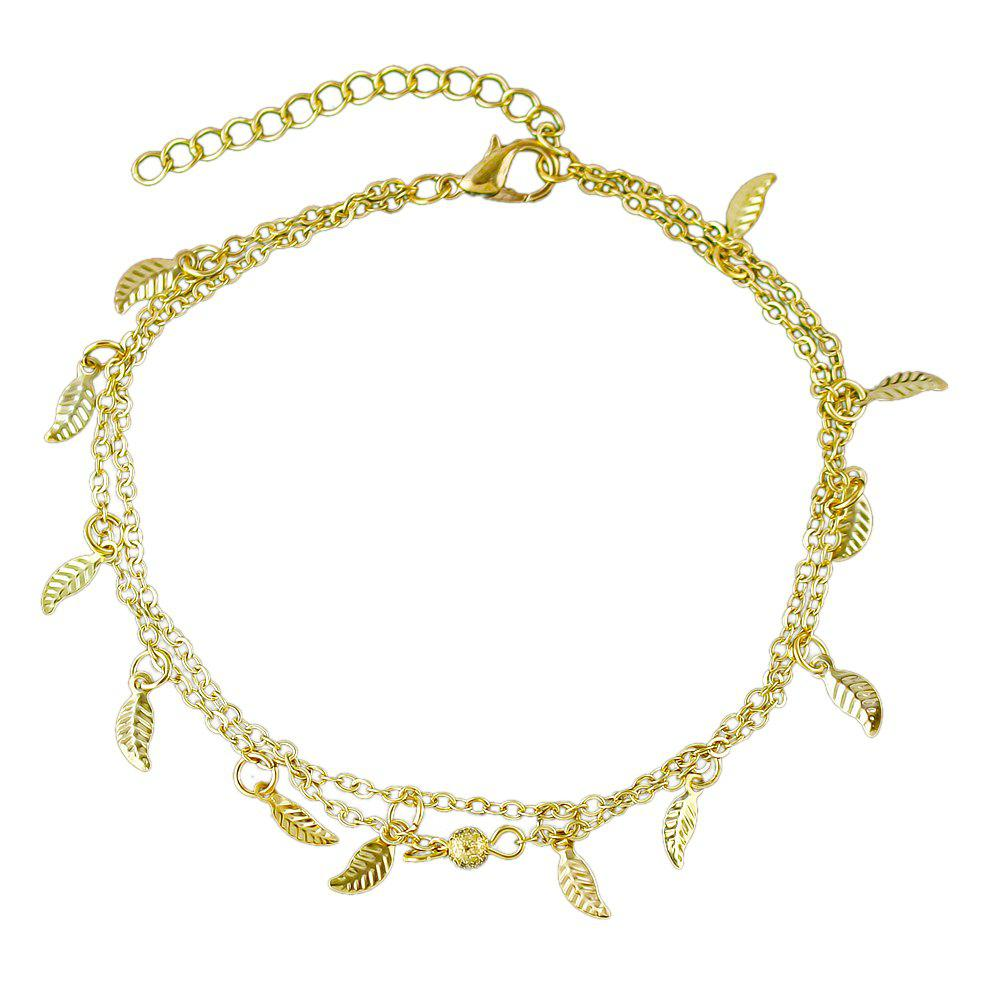 Bohemian Jewelry Double-layer Leaf Chain Anklets - GOLD