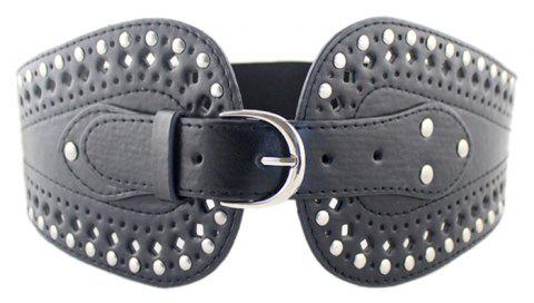 PU Leather Hollow-out Wide Elastic Belt - BLACK