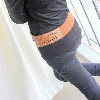 PU Leather Hollow-out Wide Elastic Belt - BROWN SUGAR
