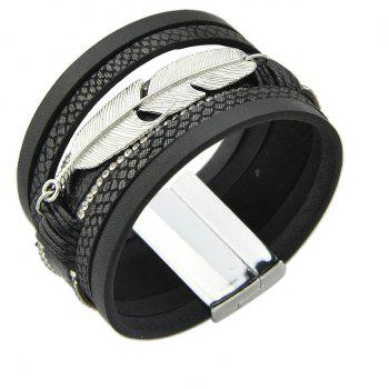 PU Leather Wrap Bracelets for Men and Women - BLACK