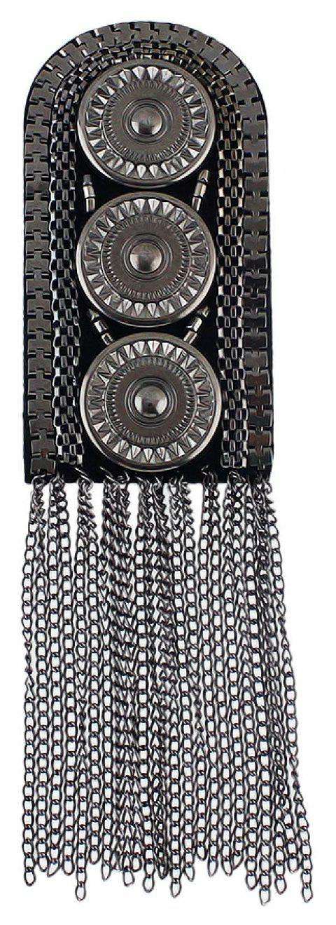 Metal with Steam Carved Button Tassel Shoulder Board Brooches - GUNMETAL
