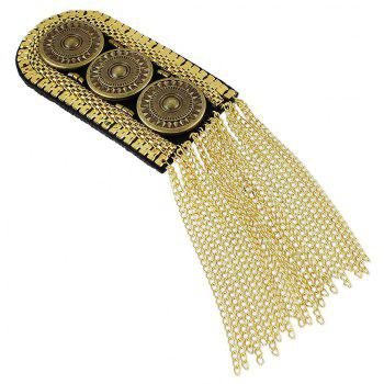 Metal with Steam Carved Button Tassel Shoulder Board Brooches - GOLD