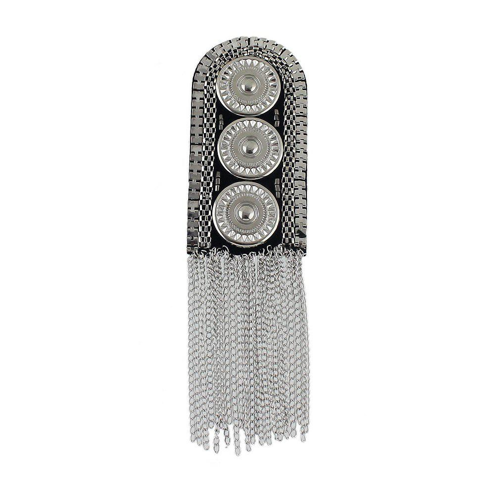 Metal with Steam Carved Button Tassel Shoulder Board Brooches - SILVER