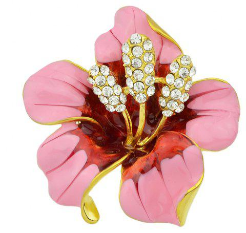 New Style Luxury Rhinestone Enamel Flower Brooch for Women - PINK