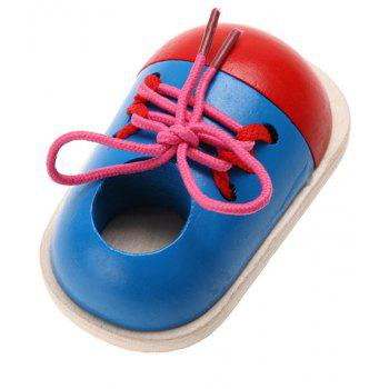 Children Wooden Tie Shoelaces Toys Early Education 1PC - BLUE