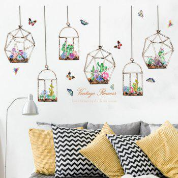 Butterfly Flower Basket Wall Stickers Living Room Home Decoration - multicolor