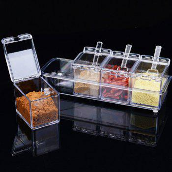Spice Jar Set  Transparent Lid Kitchen Cruet  Storage Bottles - TRANSPARENT