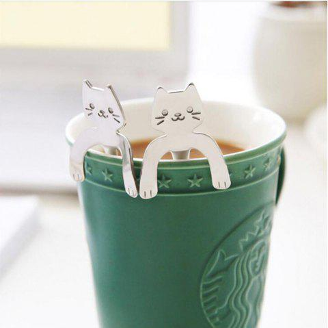 Stainless Steel Cat Cartoon Coffee Spoon Dessert Spoon - SILVER