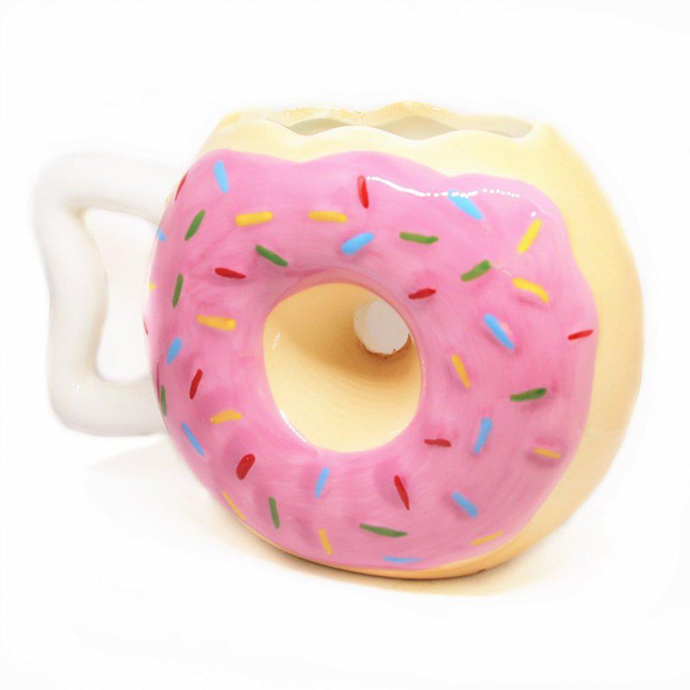 Creative Art Donut Ceramic Bread Biscuits Coffee Cup - PINK