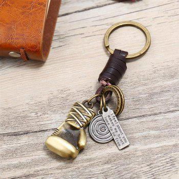 Retro Alloy Car Keychain Creative Small Gift Leather Key Chain - multicolor