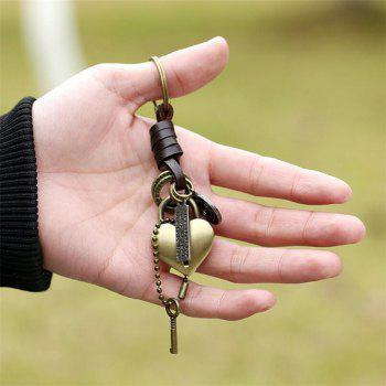 Vintage Alloy Key Pendant Punk Leather Keychain - GOLDEN BROWN