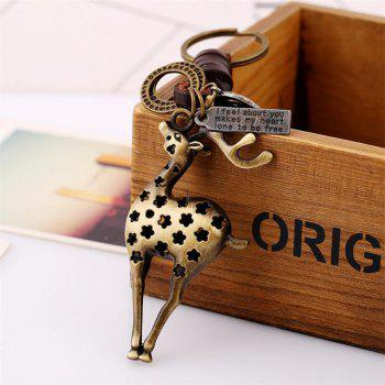 European and American Alloy Deer Vintage Woven Leather Keychain - multicolor