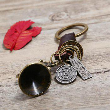 European and American Retro Leather Trumpet Leather Metal Key Ring - ORANGE GOLD