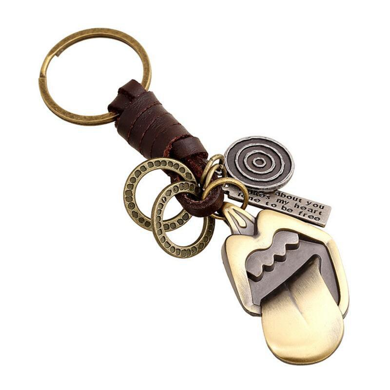 European and American Creative Alloy Retro Tongue Woven Leather Key Pendant - RUBBER DUCKY YELLOW