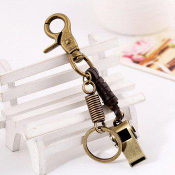 European and American Retro Leather Alloy Whistle Decorative Keychain - GOLDEN BROWN