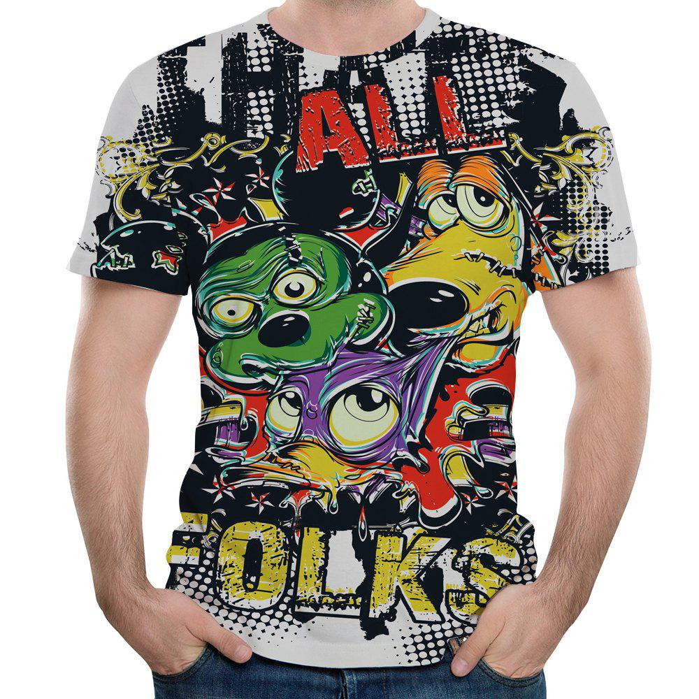 Summer 3D New Graffiti Printing Men's Short Sleeve T-shirt