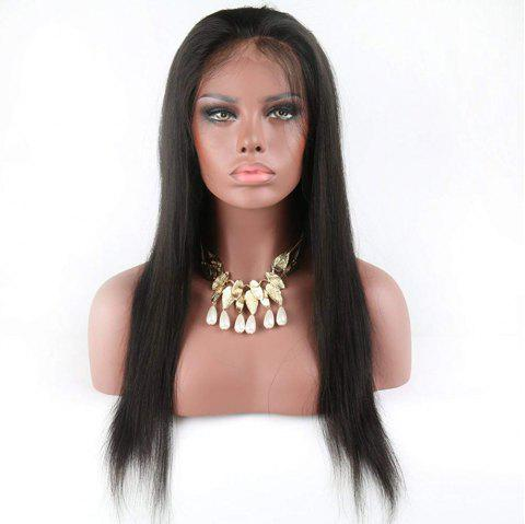 Glueless Full Lace Wigs Silky Straight with Baby hair for Women - NATURAL BLACK 18INCH