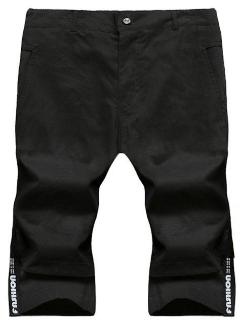 Large Size Men's Fashion Stitching Casual Pants Youth Trend Cotton Shorts - BLACK M