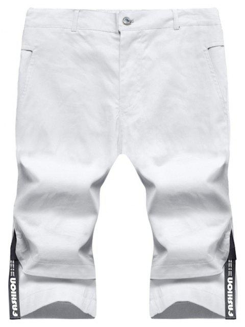 Large Size Men's Fashion Stitching Casual Pants Youth Trend Cotton Shorts - WHITE 3XL