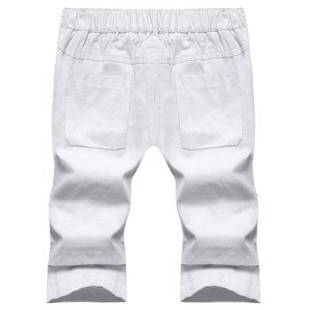 Large Size Men's Fashion Stitching Casual Pants Youth Trend Cotton Shorts - WHITE 4XL