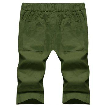 Large Size Men's Fashion Stitching Casual Pants Youth Trend Cotton Shorts - ARMY GREEN M