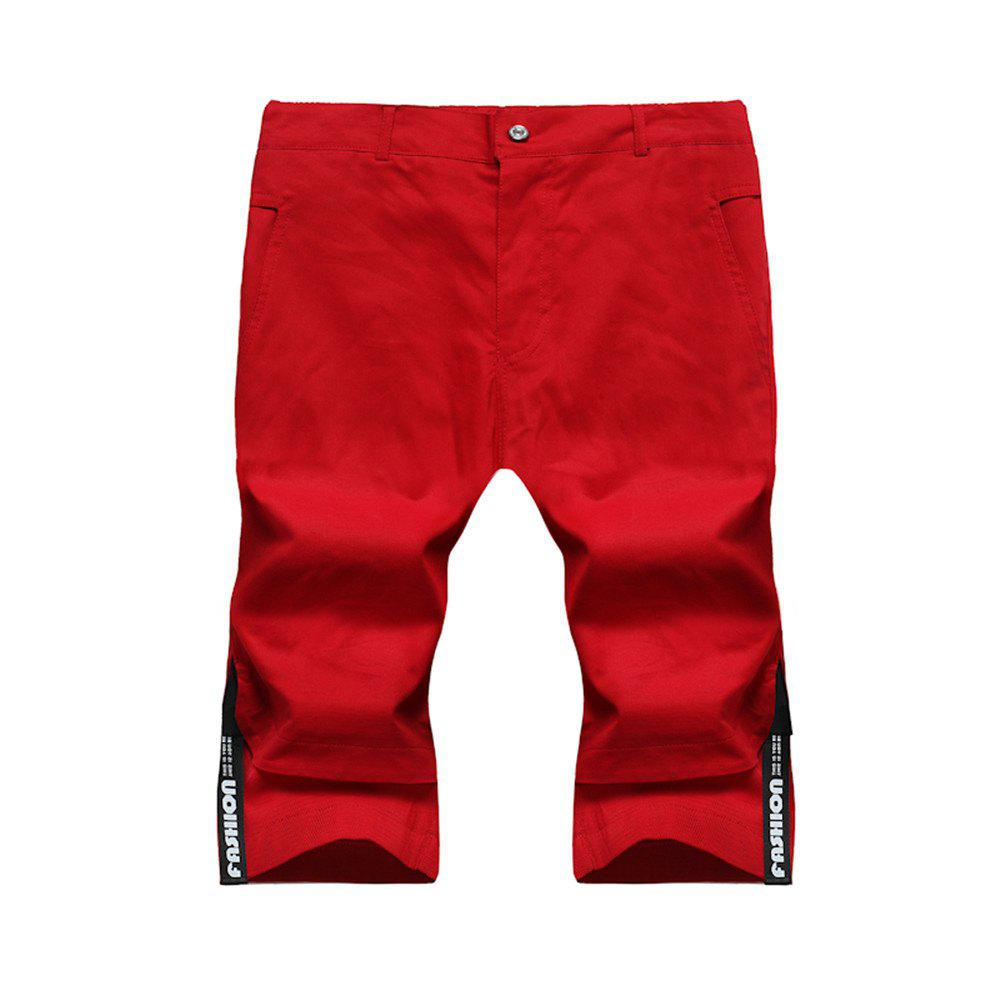 Large Size Men's Fashion Stitching Casual Pants Youth Trend Cotton Shorts - RED L