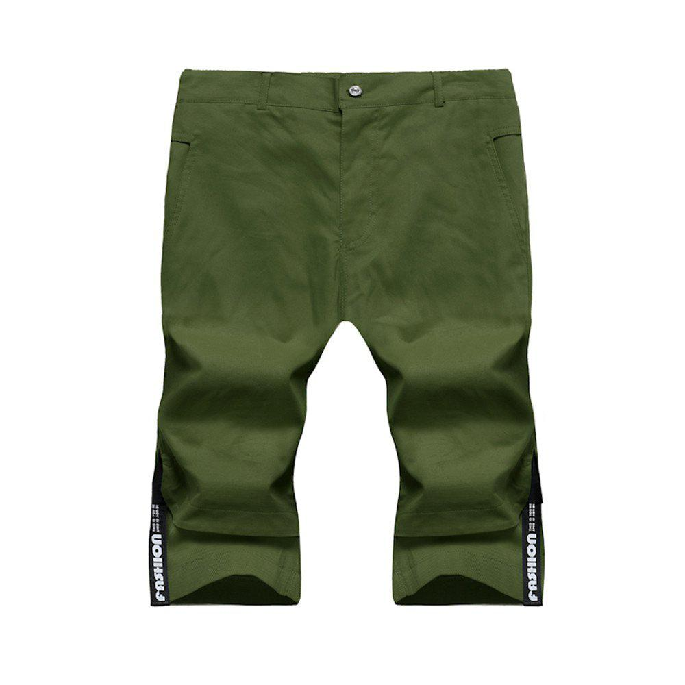 Large Size Men's Fashion Stitching Casual Pants Youth Trend Cotton Shorts - ARMY GREEN 4XL