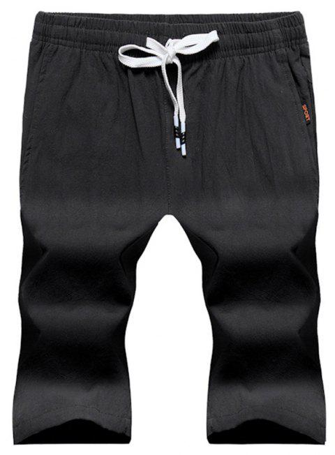 Large Size Men's Fashion Cotton and Linen Solid Color Youth Pants Casual Shorts - BLACK XL