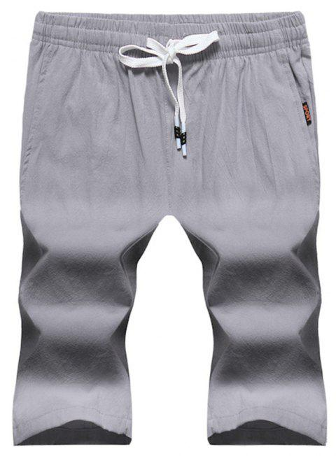 Large Size Men's Fashion Cotton and Linen Solid Color Youth Pants Casual Shorts - LIGHT GRAY M