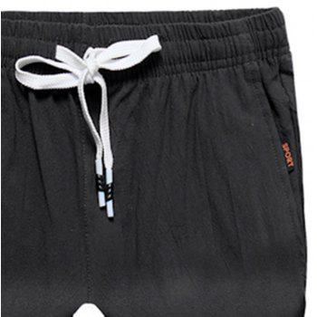 Large Size Men's Fashion Cotton and Linen Solid Color Youth Pants Casual Shorts - BLACK 2XL