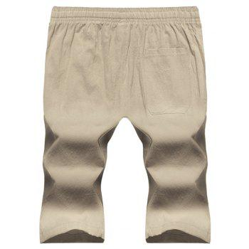 Large Size Men's Fashion Cotton and Linen Solid Color Youth Pants Casual Shorts - LIGHT KHAKI XL