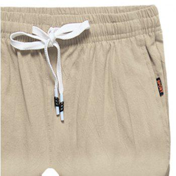 Large Size Men's Fashion Cotton and Linen Solid Color Youth Pants Casual Shorts - LIGHT KHAKI 4XL