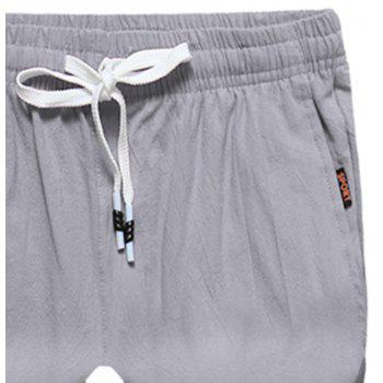 Large Size Men's Fashion Cotton and Linen Solid Color Youth Pants Casual Shorts - LIGHT GRAY L