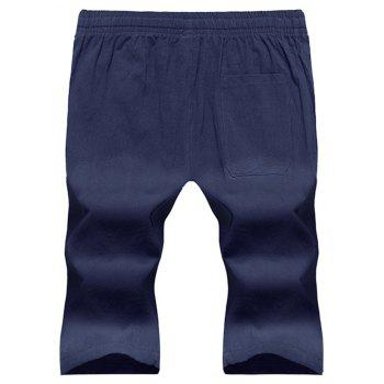 Large Size Men's Fashion Cotton and Linen Solid Color Youth Pants Casual Shorts - CADETBLUE 3XL