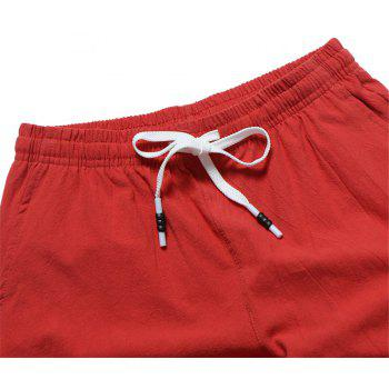 Large Size Men's Fashion Cotton and Linen Solid Color Youth Pants Casual Shorts - RED L