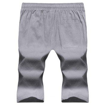 Large Size Men's Fashion Cotton and Linen Solid Color Youth Pants Casual Shorts - LIGHT GRAY 2XL