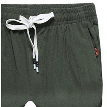 Large Size Men's Fashion Cotton and Linen Solid Color Youth Pants Casual Shorts - ARMY GREEN XL