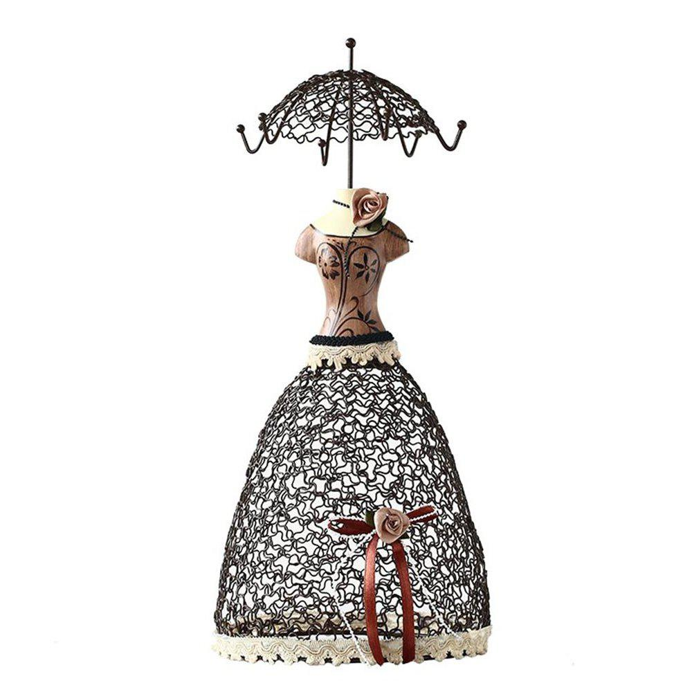 European Princess Wrought Iron Earrings Display Jewelry Stand - BROWN