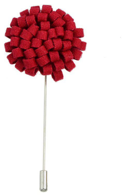 Fashion Colorful Flannel Flower Brooch Pin for Women - LOVE RED