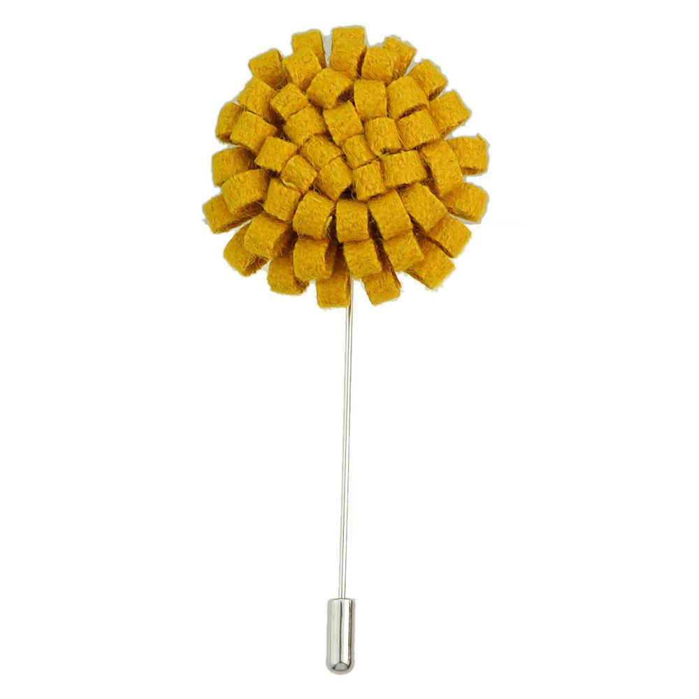 Fashion Colorful Flannel Flower Brooch Pin for Women - BRIGHT YELLOW