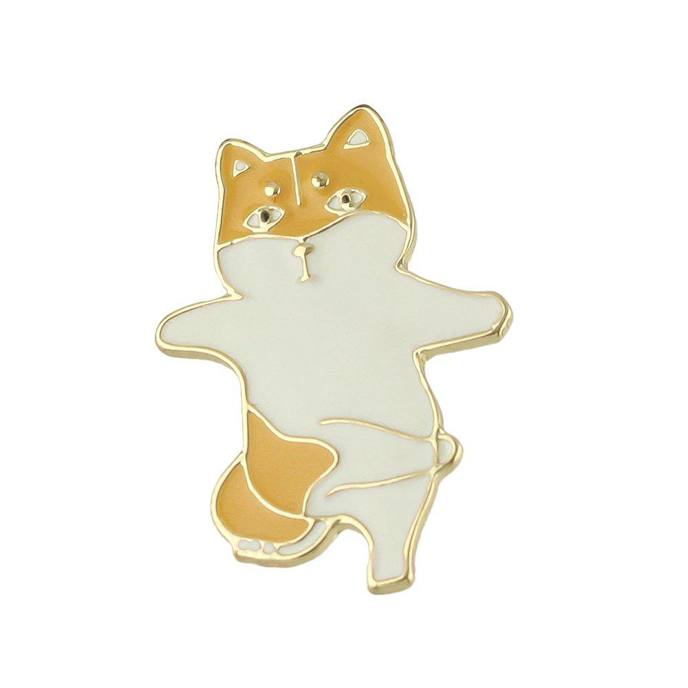 Gold-color with Enamel Cute Cat Brooches Pin - BRIGHT YELLOW