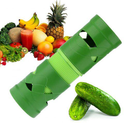 Multi-function Cucumber Turning Cutter Slicer Fruit Vegetable Device - GREEN