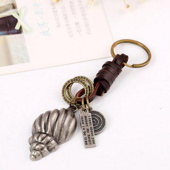 European and American Vintage Alloy Conch Punk Leather Key Chain - SILVER