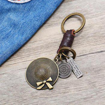 European and American Retro Creative Small Gift Hat Leather Keychain - OAK BROWN