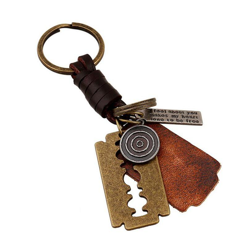 Atmospheric Alloy Blade Retro Woven Men's Leather Keychain - multicolor