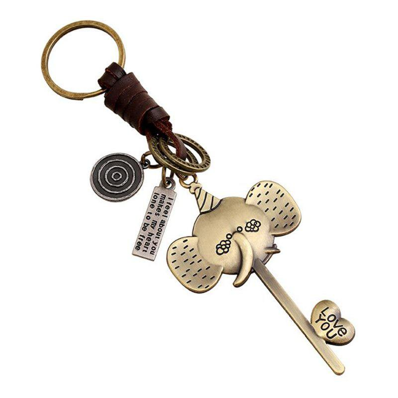 European and American Alloy Long Nose Elephant Woven Leather Key Chain - MUSTARD