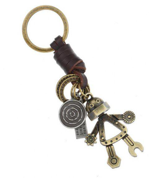 European and American Personality Retro Fashion Leather Keychain - CHAMPAGNE GOLD